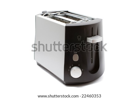 Grey toaster on white background with shadows