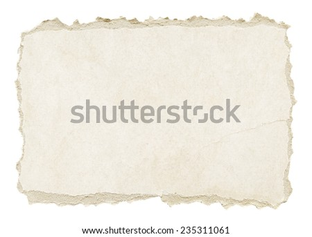 Grey torn grunge paper texture isolated on white background