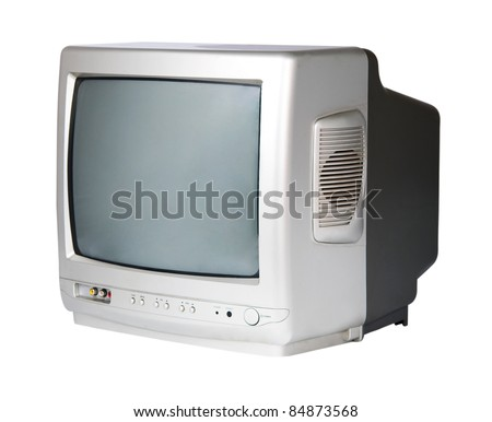 GREY TV on a white background - stock photo