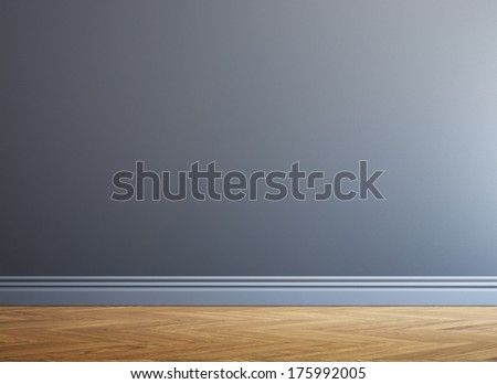 Grey wall and wood floor - stock photo