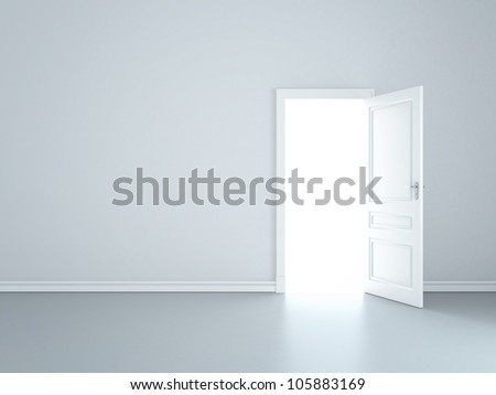 grey wall with opened door - stock photo