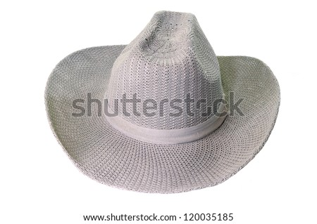 grey weaving hat with ribbon isolated on white - stock photo