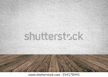 grey white colored cement background with red brown wood striped line perspective view:grunge retro aged wooden backdrop and grizzly tone wallpaper:show,advertising,promote products/goods on display. - stock photo