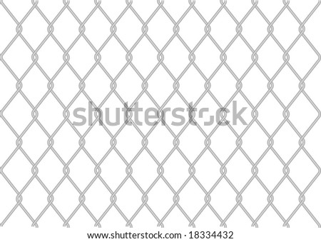 Grey wire fence on white background - stock photo