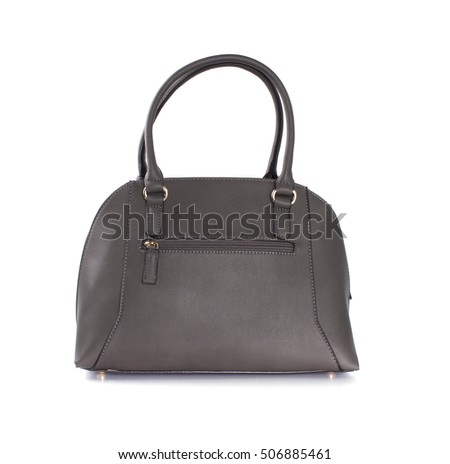 Grey women bag isolated on white background.