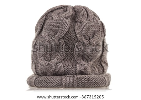 Grey wool knitted hat isolated on white background. - stock photo