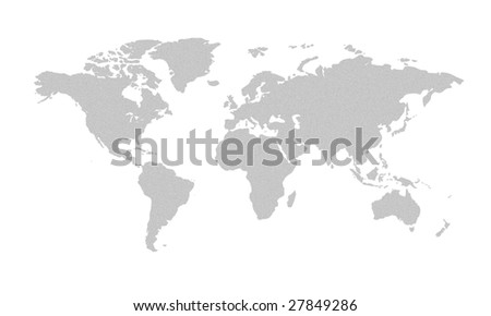 grey world map - stock photo