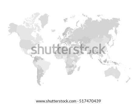 Grey world map vector illustration empty vectores en stock 436639966 grey world map illustration empty template without country names isolated on white background gumiabroncs Images