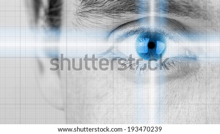 Greyscale close up image of a male eye with radiating light and a blue iris conceptual of intelligence, inspiration, forethought and vision. - stock photo