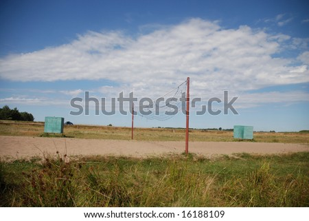 Grid for beach volleyball - stock photo