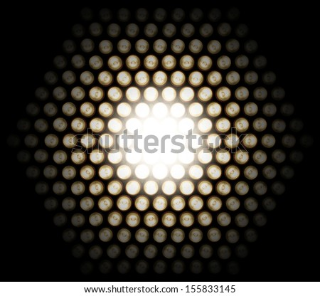 grid of light diodes, photographed at gradual change of exposure, with appearing detail in the dark, fading into absolute black                            - stock photo