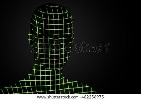 Grid projection on head.
