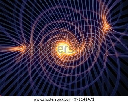 Grid Worlds Two series. Design made of glowing fractal grid lines against black background to serve as backdrop for projects related to geometry, mathematics, science, technology and education - stock photo