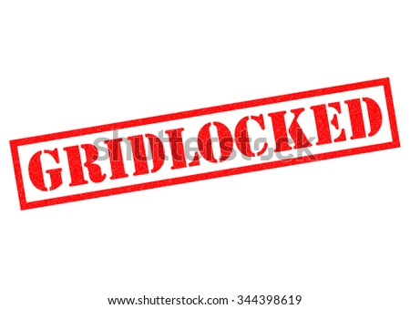 GRIDLOCKED red Rubber Stamp over a white background. - stock photo