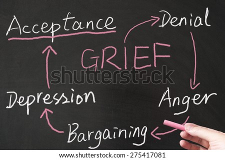 Grief cycle drawn on the blackboard using chalk - stock photo