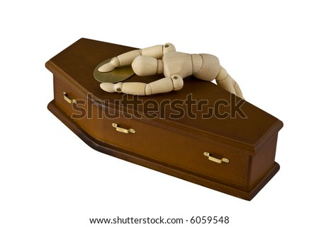 Grief stricken mannequin lying across the closed coffin of a loved one.  Isolated on white. - stock photo