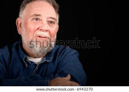 grieved old man weeping, over black - stock photo