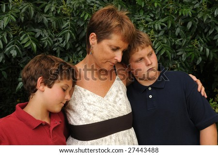 grieving family - stock photo