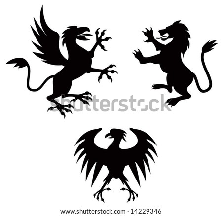 Griffin, lion and eagle silhouette