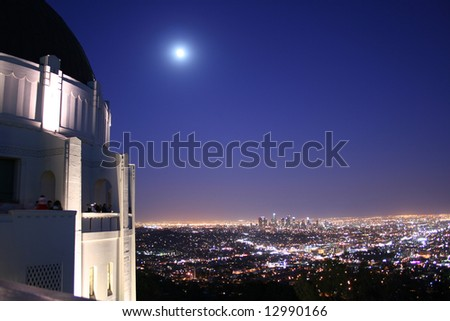 Griffith Observatory and Los Angeles Skyline - stock photo