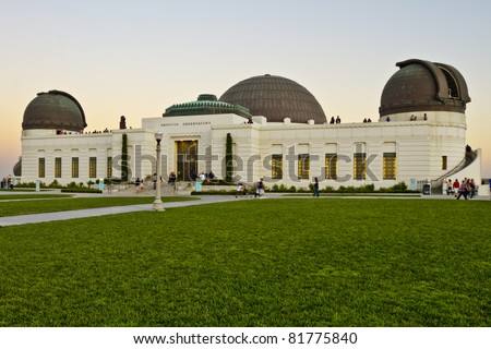 Griffith Observatory at the top of the mountain in Griffith Park in Los Angeles. - stock photo