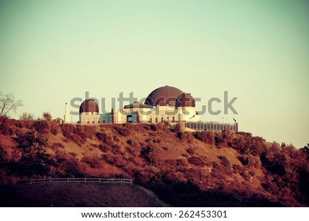 Griffith Observatory over mountain in Los Angeles. - stock photo