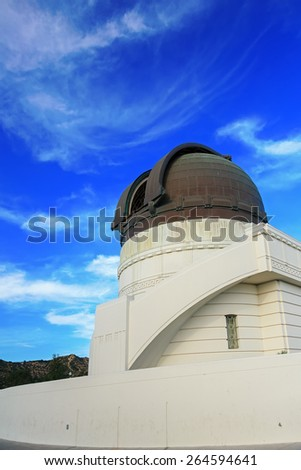 Griffith observatory with blue sky and clouds