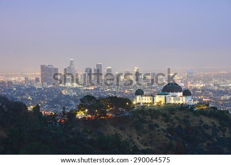 griffith observatory with Los angeles downtown at dusk - stock photo