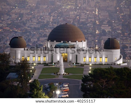Griffith Park Observatory, famous Los Angeles city owned landmark. - stock photo
