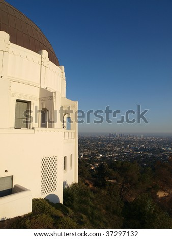 Griffith Park Observatory overlooking Los Angeles. - stock photo