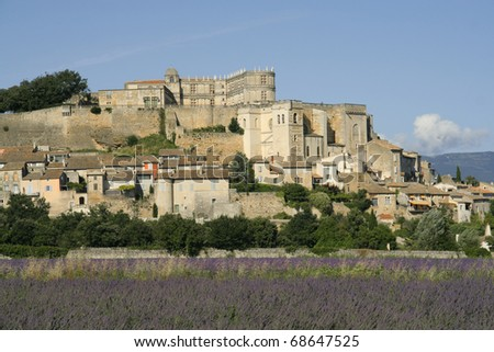 Grignan with lavender field, Departement Drome, Rhone-Alpes, France - stock photo
