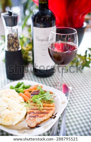 grill a steak at restaurant - stock photo