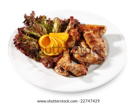 Grill Chiken on a Plate with Leaf of Salad and Slice Orange. Isolated over White - stock photo