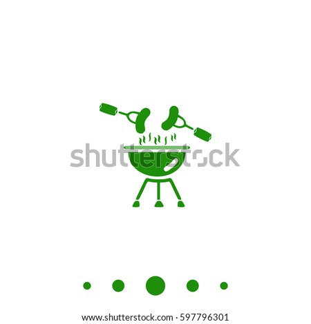 Grill Icon Illustration.  Flat green pictogram on white background