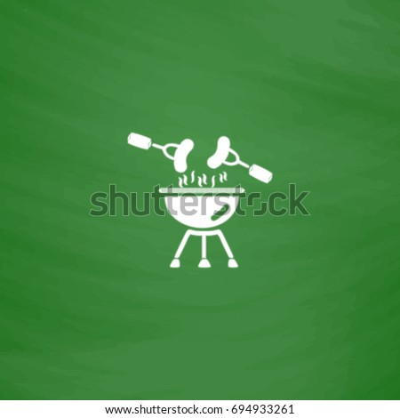 Grill Icon Illustration. Flat symbol. Imitation draw with white chalk on green chalkboard. Pictogram and School board background