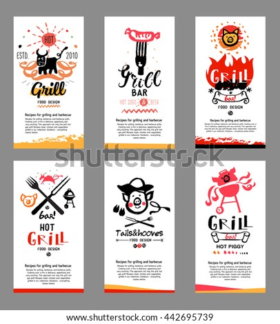 Grill illustrations, cards. Drawings and symbols are handmade on the subject of barbecue and grilling. - stock photo