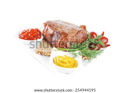grill meat on bread with spices and sauces - stock photo