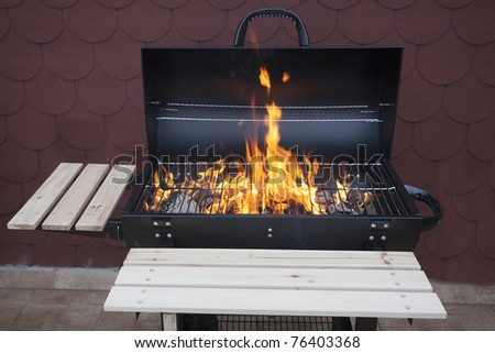 grill on fire - stock photo