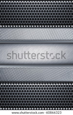 Grill pattern riveted to brushed steel background - stock photo