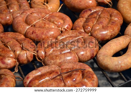 grill sausages - stock photo