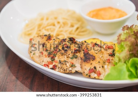 grill seabass fillet with honey tartar sauce