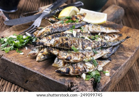 Grilled Anchovies - stock photo