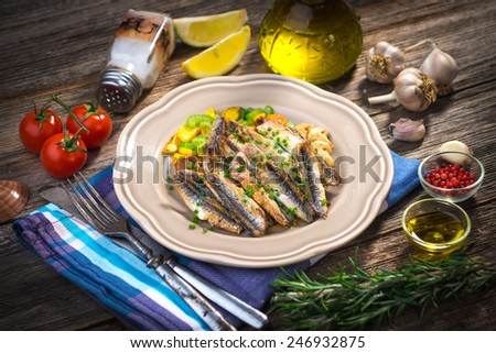 Grilled anchovy   - stock photo