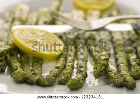 Grilled asparagus - stock photo