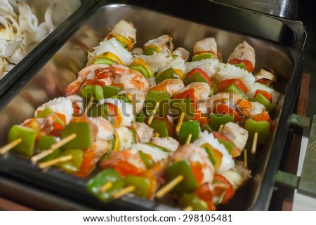 grilled barbecued mixed seafood in wedding dinner party