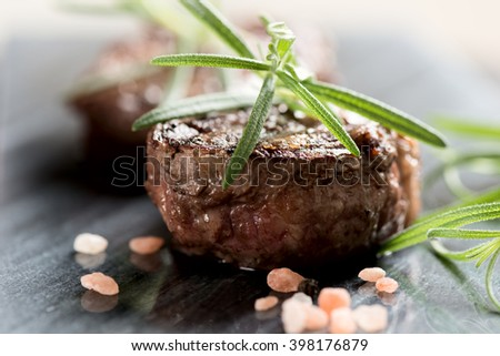 Grilled bbq steak with rosemary