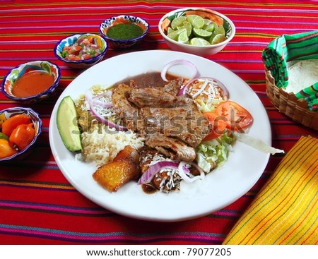 Grilled beef fillet assorted mexican dish chili sauce and tortillas - stock photo