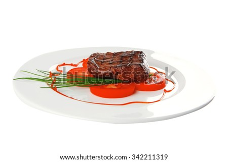 grilled beef meat entrecote fillet served with tomatoes and green chives  on white china plate isolated over white background - stock photo