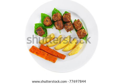 grilled beef meatballs with baked potatoes on white
