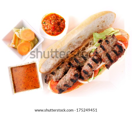 Grilled beef sandwich with sauce  - stock photo